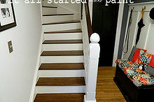refinishing the entry staircase, stairs, Refinished staircase after