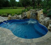 a hot tub with room for 19, outdoor living, patio, pool designs, spas, Spool cross between a spa and a pool with moss rock waterfall Great idea for small backyards See more creative photos at