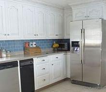 modern white cottage kitchen makeover, home decor, kitchen backsplash, kitchen design, White painted cabinets blue glass subway style tile