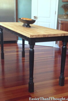 a butcher block island from a broken patio table, home decor, kitchen design, kitchen island, repurposing upcycling, The finished product