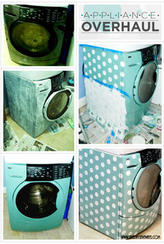 stenciling a washer dryer set with polka dots, appliances, laundry rooms, painting, Step by step stenciling a washing machine