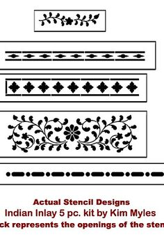 indian inlay stenciled tabletop, home decor, painted furniture, Cutting Edge Stencils Indian Inlay Stencil Kit actual stencil shapes