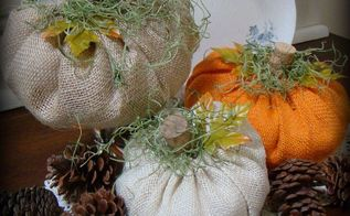 super easy burlap pumpkins, crafts, seasonal holiday decor