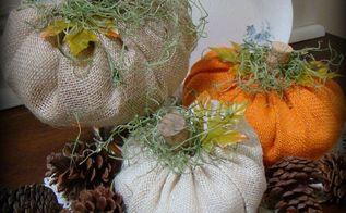 super easy burlap pumpkins, crafts, seasonal holiday decor
