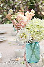 summer table setting with blue mason jars, home decor