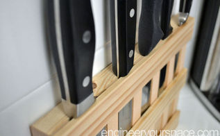 diy wall mounted wood knife rack to save space in a small kitchen, kitchen design, storage ideas, woodworking projects