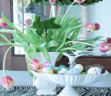 spring easter egg decor, foyer, gardening, painted furniture