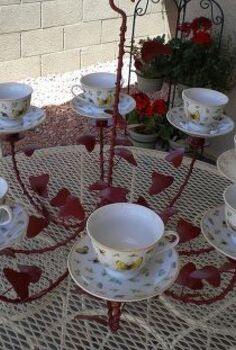 tea cup chandelier, crafts, outdoor living, repurposing upcycling, Repurposed chandelier painted and attached tea cups and saucers