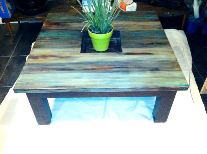 coffee table rustic redo for 5, painted furniture, rustic furniture, After  I plan - Coffee Table Rustic Redo For $5 Hometalk