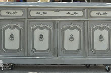 painted french china hutch makeover, home decor, painted furniture, repurposing upcycling, The base Maison Blanche Franciscan Grey Hurricane and custom mix of Magnolia and Baguette to create the off white
