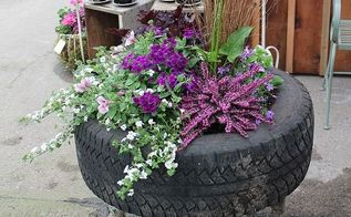 up cycled tire planter, container gardening, flowers, gardening, perennials, repurposing upcycling, This Raised Tire Planter adds a quirky conversation piece to any garden for under 20