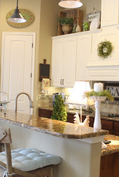 make it pretty monday features, home decor, painted furniture, Painted upper cabinets and stained lower cabinets