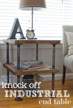 knock off industrial side table, home decor, woodworking projects, Knock Off Industrial Table
