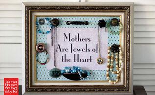 mother s day diy framed jewelry organizer, crafts
