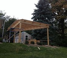 pergola with louvered lattice for summer shade and fall sunshine, outdoor living, patio, woodworking projects
