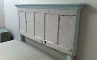 king size door headboard with light blue accents, painted furniture, repurposing upcycling