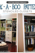peek a boo patterns stenciled closets, closet, painting