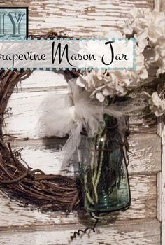 diy grapevine mason jar, crafts, mason jars, repurposing upcycling, wreaths, I love mason jars and I especially love these vintage blue ones When I found this grapevine wire I knew it had to go with them