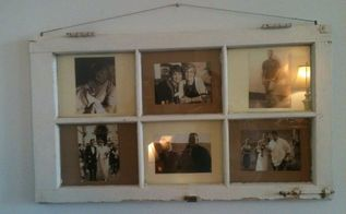 family photo displayed in old window frame, crafts, home decor, repurposing upcycling