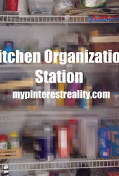 hidden kitchen organization station, closet, organizing