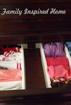organizing the dresser drawers, organizing