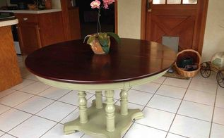 refinishing a dining room table, painted furniture, Three coats of Minwax Polycrylic sanding lightly in between coats with 220 grit and reassembled for use in my breakfast room The orchid is one I ve had for 5 years and started blooming last month Had to show it off too