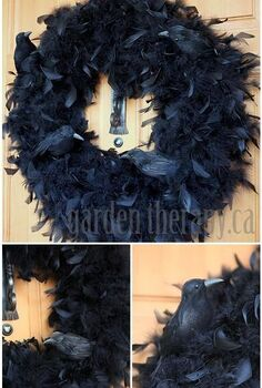 halloween crow feather wreath, crafts, doors, halloween decorations, seasonal holiday decor, wreaths