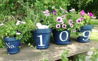 house number flower pots welcoming guests, flowers, gardening, House number flower pots updated