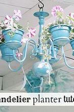 diy chandelier planter, flowers, gardening, repurposing upcycling, DIY chandelier planter