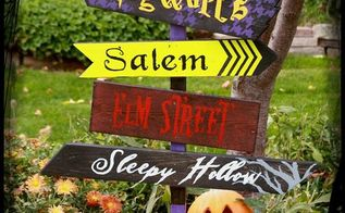 diy halloween yard sign from scraps, crafts, halloween decorations, seasonal holiday decor, We used the settings from our favorite Halloween flicks to make our sign