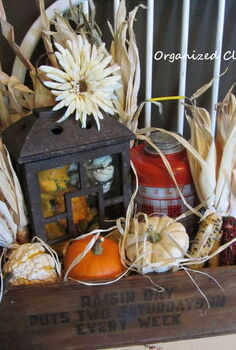 a rustic fall vignette in a wooden crate, seasonal holiday decor, Rustic Fall Crate Vignette