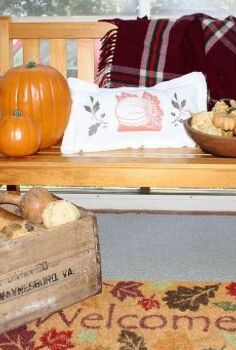 simple flour sack pillow for fall, crafts, seasonal holiday decor, Dried gourds and faux pumpkins along with a fall pillow great a vignette on my porch for fall