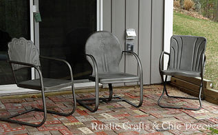 how to paint old and rusty metal outdoor chairs, outdoor furniture, painted furniture, Finished chairs using a textured metallic paint I then applied a couple coats of clear gloss lacquer by Rustoleum to seal and protect the finish