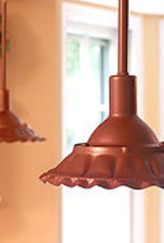 modern pendant lights to farmhouse lights with some solder and paint, lighting, painting, DIY Scalloped Copper Farmhouse pendant lights