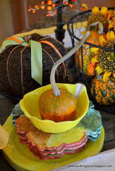 fall vignettes in the kitchen, seasonal holiday decor, Cute little pumpkin with a curly stem nestled in a bowl