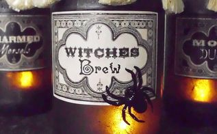 vintage potion and spell jars for halloween, crafts, halloween decorations, repurposing upcycling, seasonal holiday decor