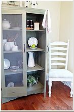 old armoire to kitchen pantry, home decor, painted furniture, rustic furniture, Armoire to handy kitchen storage Painted with Acadia Pear Milk Paint Light distressing gives this cabinet a well used appearance