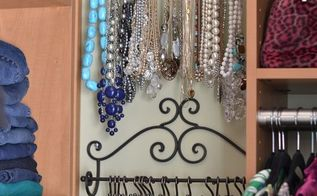 easy decorative ways to organize your jewelry, organizing, Decorative towel racks are the perfect way to organize your necklaces I added some S hooks to the bar to hold the necklaces