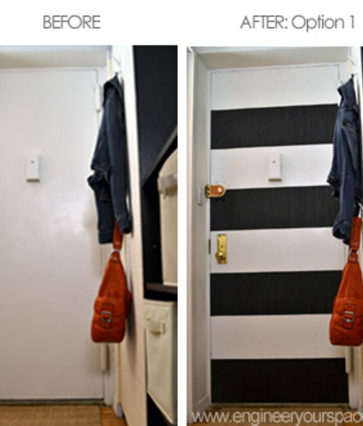 "Painting Entryway diy ""no paint"" striped entryway door 