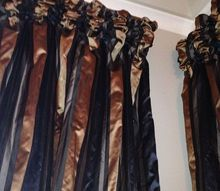 fall city residence, home decor, reupholster, window treatments, windows, Rouched top silk drapes