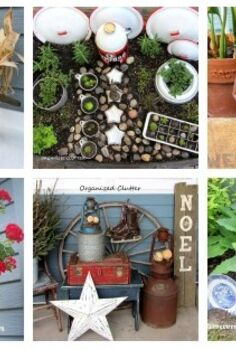 the yard gardens patio of a junk collector, gardening, outdoor living, patio, repurposing upcycling, Join me for a round up of many of my favorite outdoor decorating ideas