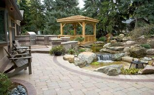 waterfall and gazebo transforms backyard, decks, outdoor living, patio, ponds water features, A boring expanse of grass was replaced with an outdoor oasis