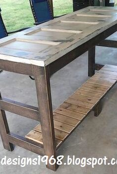 kitchen island made from an old door, diy, repurposing upcycling, woodworking projects, My Kitchen Island Finished 1 4 Glass was added to the top of this for easy cleaning and a flat smooth surface to work on