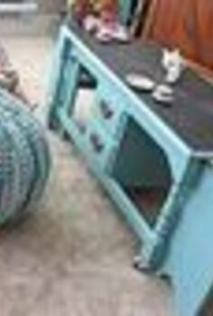 a coffee table re purposed into a kids table, painted furniture, The cute pouf came from Target