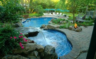 turning a tired backyard into award winning retreat, landscape, outdoor living, ponds water features, pool designs, spas, Cascading Water Features