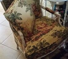 french toile de jouy bosporus fabric chair, painted furniture, reupholster, newly re upholstered toile lovely