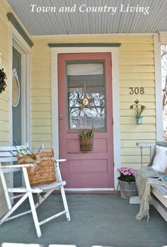 sprucing up a farmhouse porch, outdoor living, porches, An old porch swing and shabby white chair provide outdoor seating