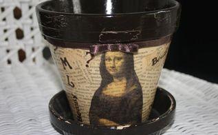 vintage flower pot with mona lisa theme, crafts, decoupage
