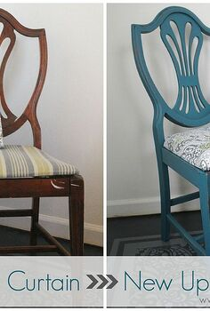 gorgeous upholstery from a shower curtain, home decor, living room ideas, painted furniture, reupholster, I started out with four great wood chairs I found at a yard sale for only thirty bucks They were in desperate need of some love