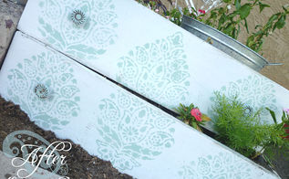 find some old drawers and turn them into planter boxes so easy, flowers, gardening, repurposing upcycling, Spruced up the drawers with some paint and a stencil then added dirt and flowers